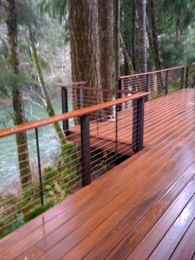 19 best wire deck railing images on pinterest fence for Garden decking banister