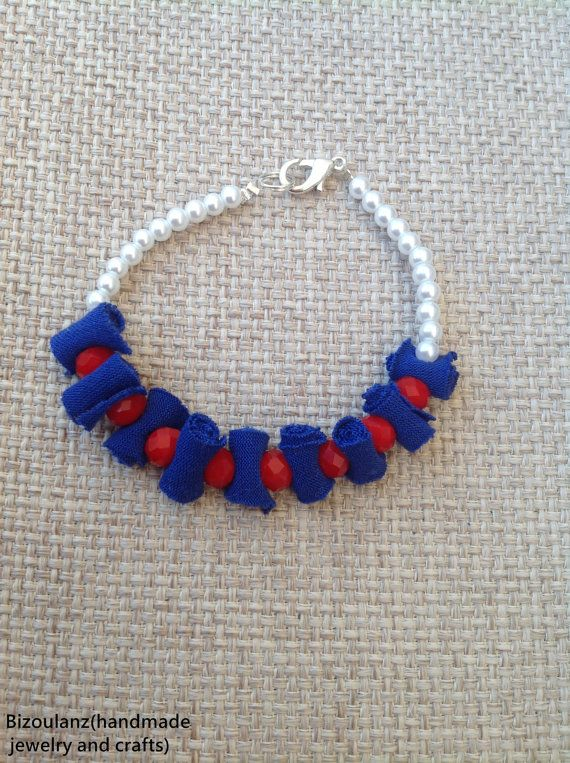 fabric,crystal and pearl bracelet,recycled/upcycled eco friendly jewelry,textile jewelry,friendship stack bracelet, blue,red,white,bizoulanz