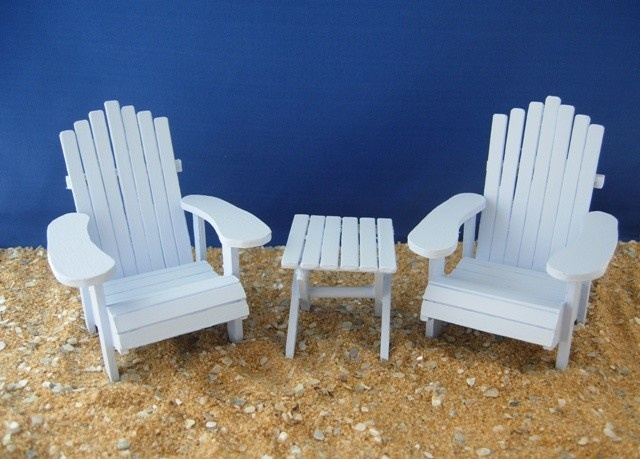 Dollhouse Miniature Adirondack Chairs And Side Table