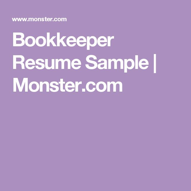 Bookkeeper Resume Sample | Monster.com