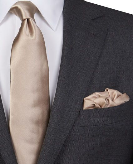Caramel satin (looks similar to light taupe) men's tie and pocket square with grey suit - From the ™ Lewin wedding tie collection