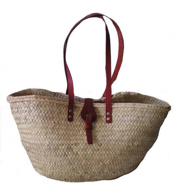 Market Basket with Red Leather Handles and a Leather Buckle- Palm Leaf-Handmade-Grocery Basket-Palm Leaf Tote bag- OficinaDartesa