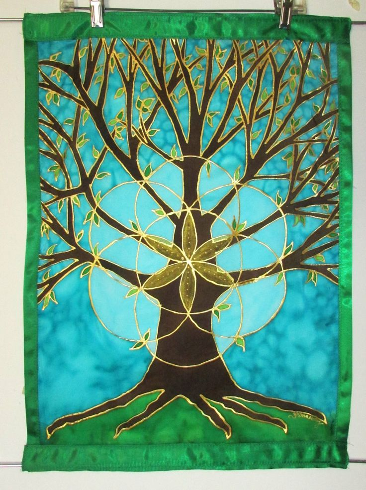 Tree Of Life Silk Tapestry With Seed Of Life Tree Art
