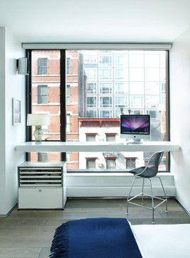 Master bedroom floating desk in SoHo loft // home office