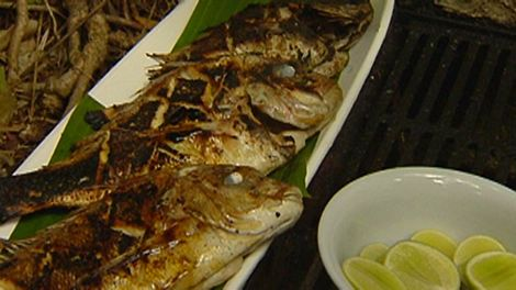 Barbecued baby snapper with royal Thai paste
