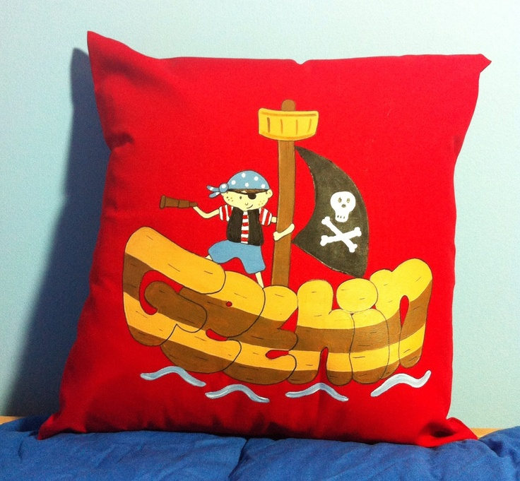 Pirate Gethin loves this personalised cushion