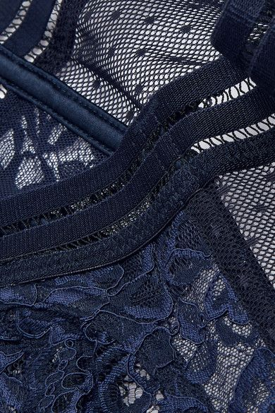 Stella McCartney - Isabel Floating Corded Lace And Point D'esprit Underwired Bra - Midnight blue - 3