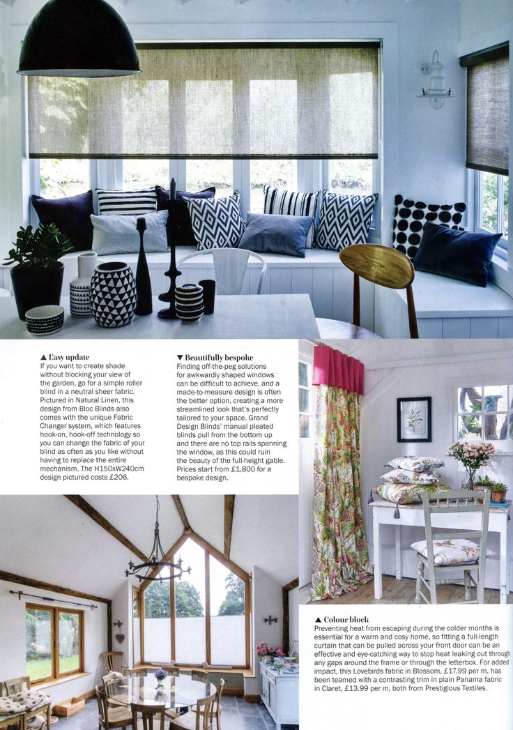 Grand Design Blinds' manual bespoke pleated blinds pull from the bottom up and there are no top rails spanning the window, as this could ruin the beauty of the full-height gable. http://granddesignblinds.com/ Period Living September 2017