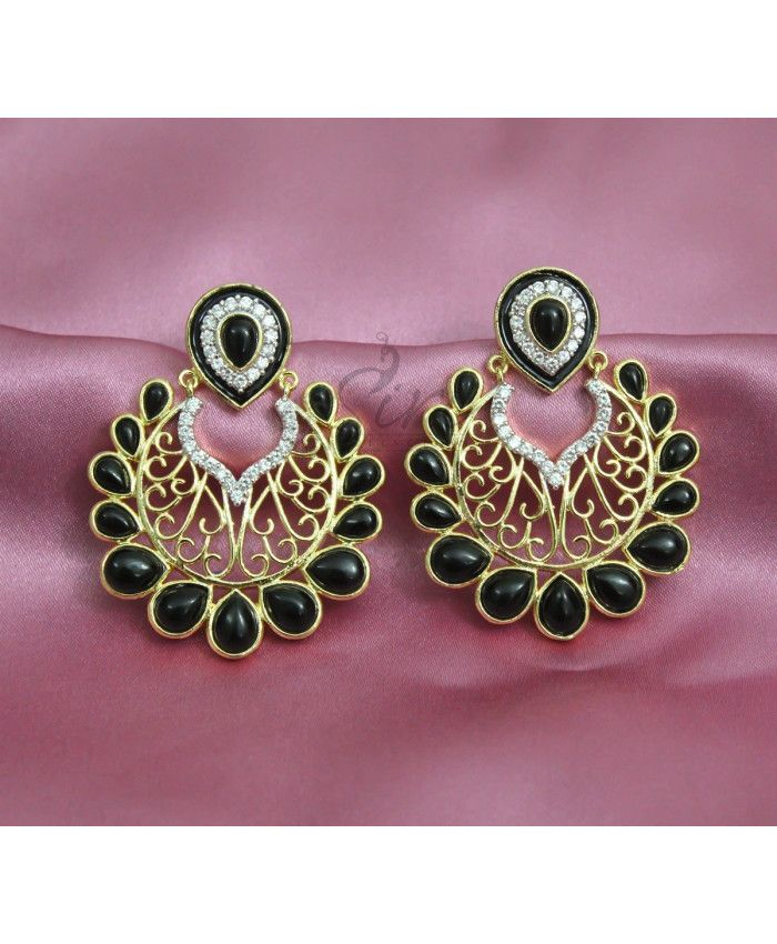 Designer chand baalis in black onyx and CZ
