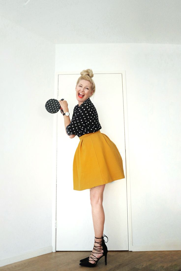 Zalando mustard yellow balloon skirt, Mango polka dot shirt, lace up pumps.