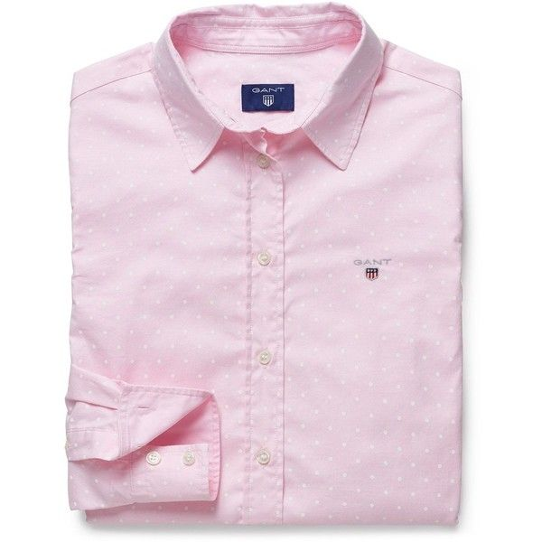 Women's GANT Stretch Oxford Printed Dot Shirt (£53) ❤ liked on Polyvore featuring tops, pink shirt, dotted shirts, pink polka dot top, oxford shirt and embroidered logo shirts