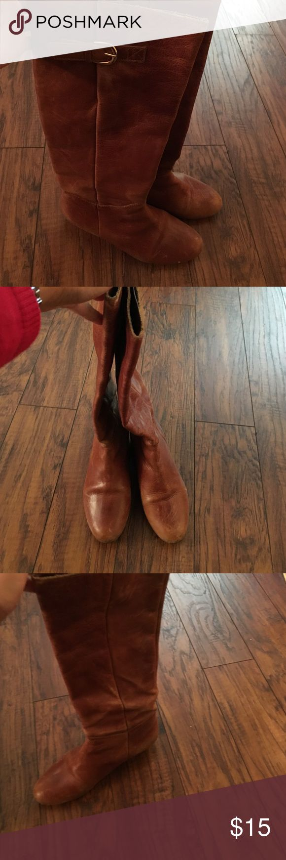 Flat tan leather boots These flat tan leather boots go well w/ any outfit! Steven by Steve Madden Shoes Winter & Rain Boots