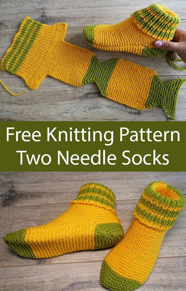 Free Knitting Pattern for Two Needle Socks – #desi…
