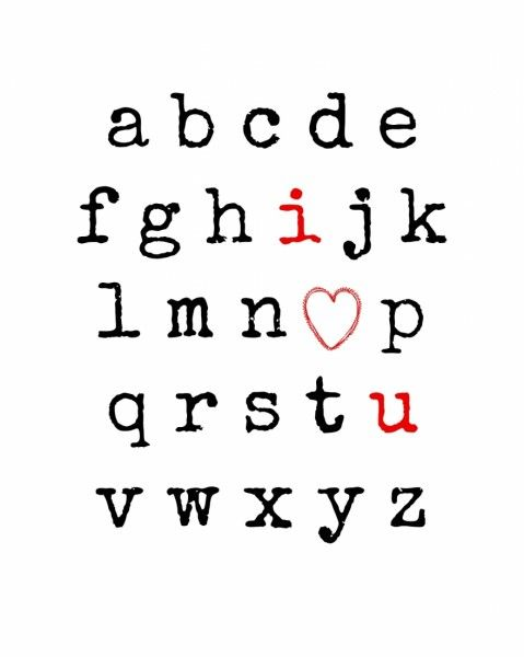 I Love You Alphabet Free Printable from Endlessly Inspired - what a cute idea for Valentine's Day!