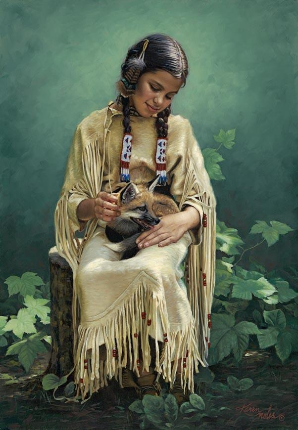 The Art of Karen Noles. Native American girl holding young