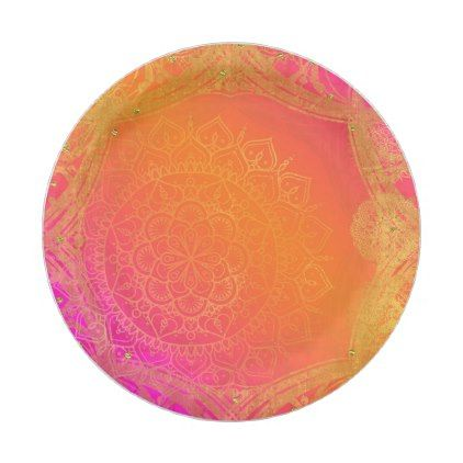 Fuchsia Pink Orange & Gold Indian Mandala Party Paper Plate - wedding shower gifts party ideas diy cyo personalize