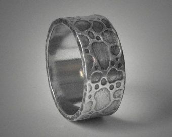 Best Mens wide rustic wedding band organic textured mens silver wedding ring customized handmade unique Commitment