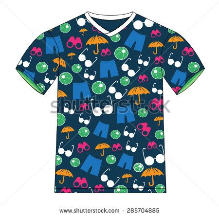 This image is a vector file representing a T-shirt Summer Pattern Vector Template Design Illustration./T-shirt Summer Pattern Vector Template/T-shirt Summer Pattern Vector Template