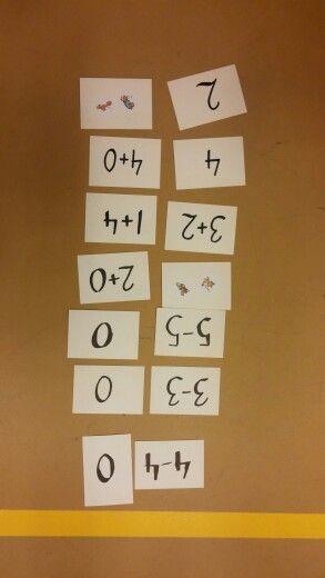 Matikkaliikuntaa lukualueella 0-5. Viestinä. Noin 8 pahvikorttia liittyen jokaiseen käsiteltävään lukuun. Korteissa voi olla lukuun liittyvä numeromerkki, lukumäärä ilmaistuna esim. tarroilla, yhteenlasku tai vähennyslasku. Kortit on aseteltu maahan kuvapuoli alaspäin leikkialueen toiseen päähän. Esim. neljä joukkuetta, joista aina yksi oppilas kerrallaan käy kääntämässä kaksi korttia ympäri. Oppilas laskee tai katsoo, ovatko kortit pari (eli tarkoittavatko samaa lukua keskenään). Jos ne…