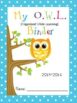 These are Owl binder covers for boys and girls with explanation to parents and binder rules. Choose from 7 different ones. If you prefer an EDITABLE Version please see my products. EDITABLE VERSION of Rules/Parent Letter/Teacher Name/Grade/Student Name is for $4.00