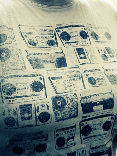 Vintage ghetto-blaster tee shirt. Used to have silver foiling but that all got washed off years ago!