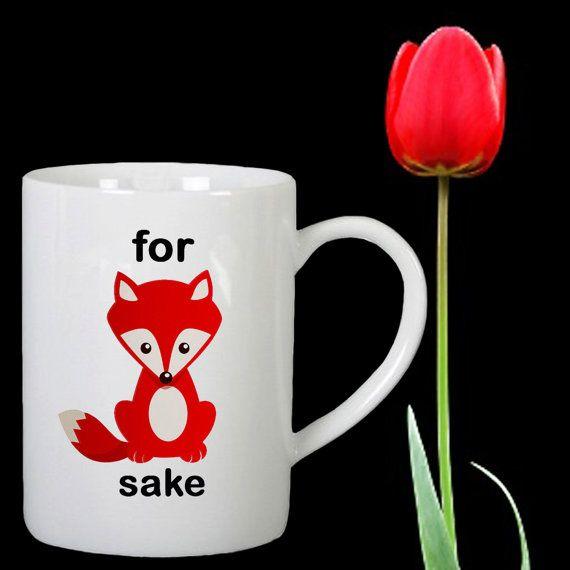 For fox sake design for mug by Mbelgedes on Etsy