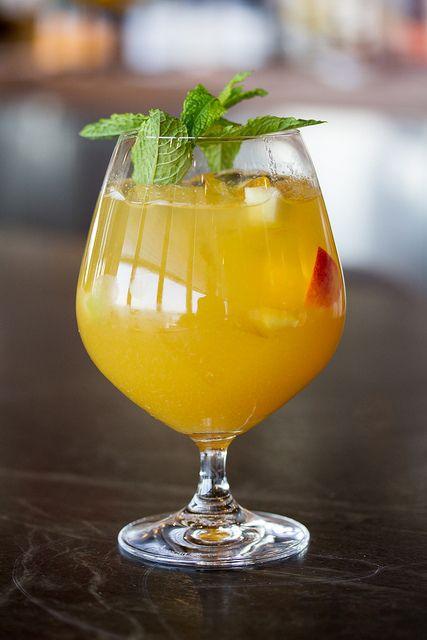 Spicy Peach - Dillon's Vodka & Rose Gin, Tromba Blanco Tequila, Screech, Ginger & Peach #Canoe #Toronto #Cocktails #Summer
