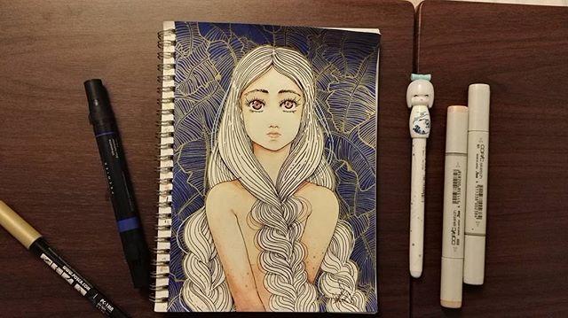 Chica fondo azul #copicmarkers #posca #draw #illustration #illustration