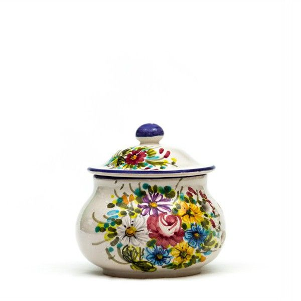 Ceramic can or tin with holes for best conservation of chili peppers, kitchen use. Fioraccio Abruzzo wild flowers decoration, Italian handmade pottery.