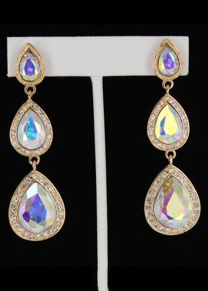 Helen's Heart JE-D0063 AB Gold Prom earrings Prom earrings Online  #thepromdresses
