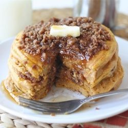 Pumpkin Cinnamon Streusel Pancakes...say that five times fast! Okay nevermind it's not that hard.