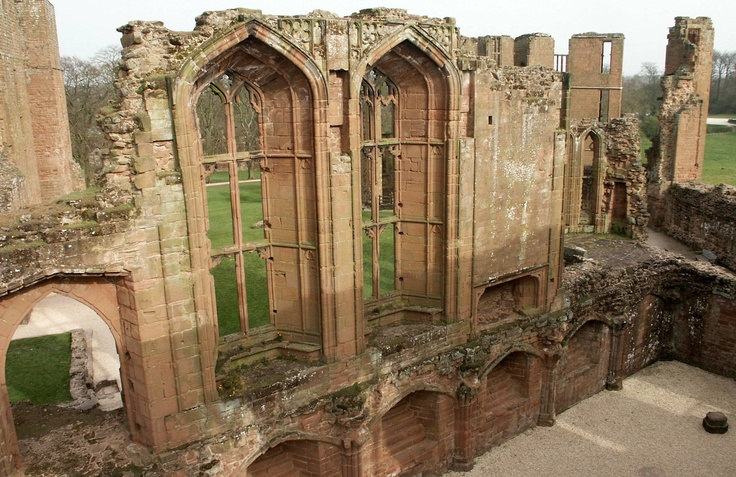 John of Gaunt's great hall at 12th century Kenilworth Castle in Warwickshire, England.