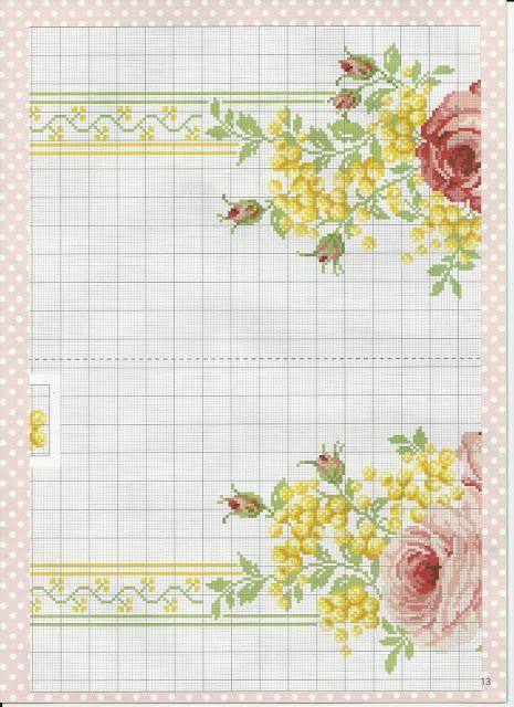 PATRONES PUNTO DE CRUZ GRATIS: Gráfico de un bello mantel de flores con punto de cruz