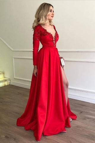 Deep V Neck Long Sleeves Lace Appliques Red Slit Prom Dresses Formal  Evening Fancy Dress LD1842 53d61780d