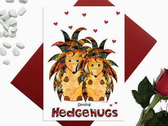 Valentines day card  Hedgehogs  Hedgehugs  Cute