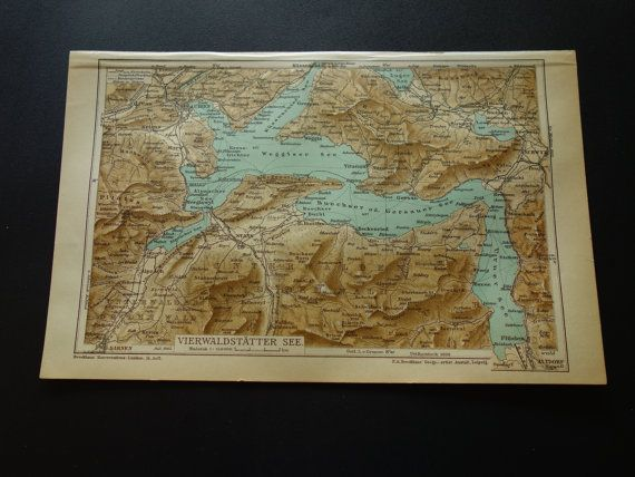 1903 SWITZERLAND old map of Vierwaldstättersee  by VintageOldMaps