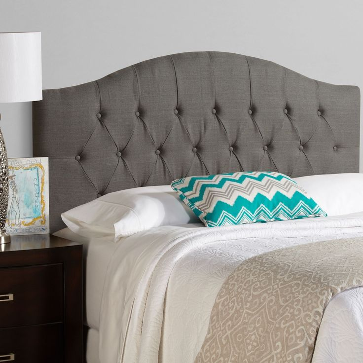 this king size upholstered headboard is adjustable to accommodate a wide range of mattress heights