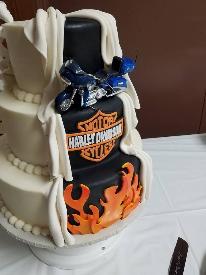 Harley Davidson Motorcycle Peek A Boo Wedding Cake