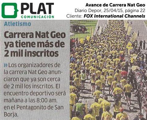 FOX International Channels: Avance de Carrera Nat Geo en el diario Depor de Perú (25/04/15)