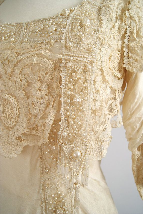 Exquisite 1900s Belle Epoque Wedding Gown by xtabayvintage