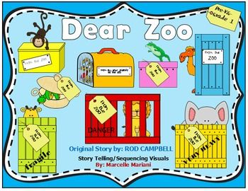 Dear Zoo -Story Sequencing- Re-telling Visuals-FREEBIE  English Language Arts, Reading, Informational Text  PreK, Kindergarten, 1st, Homeschool  Thematic Unit Plans, Guided Reading Books, Literacy Center Ideas...This 40+ page file contains story telling and sequencing tools to promote literacy and oral comprehension. Story telling is a key aspect in developing language acquisition, critical thinking skills and oral comprehension