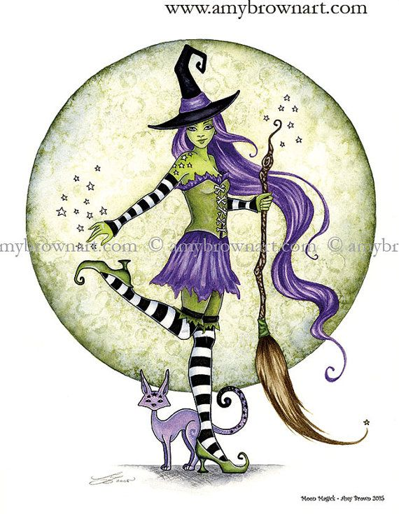 Witch 8.5x11 PRINT Moon Magick by Amy Brown by AmyBrownArt on Etsy