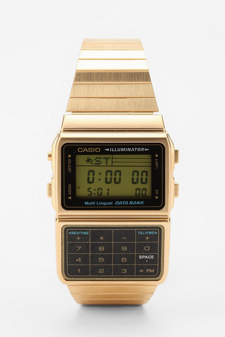 Urban Outfitters, Casio Databank Gold Watch.