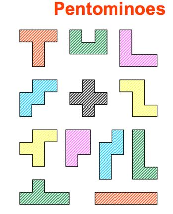 Here's a 21 page packet on pentominoes with lots of puzzle ideas.