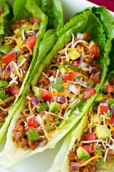 Turkey tacos with lettuce shells are healthy alternative to on of our favorite foods.