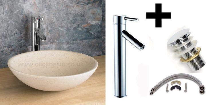 Click basin Galala Limestone 40cm Circular Portici Vanity Washbasin With Tap and Waste £169