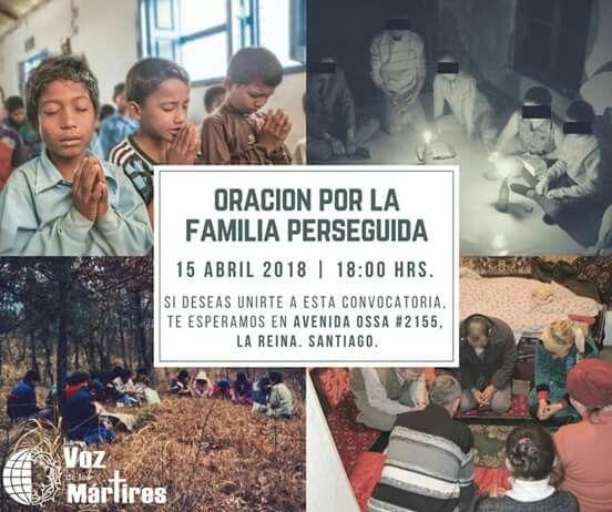 ¿Nos acompañas orando? Hay muchísima familia por la cual orar. Si eres de Santiago, ¡Te esperamos! ¡Te animamos a llevar a alguien contigo!  #Oración #Persecución #Santiago #Comparte