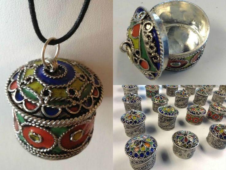 Moroccan Tribal Silver Alloy Round Lidded Pendant Pill Secret Compartment Box #BerberBrand