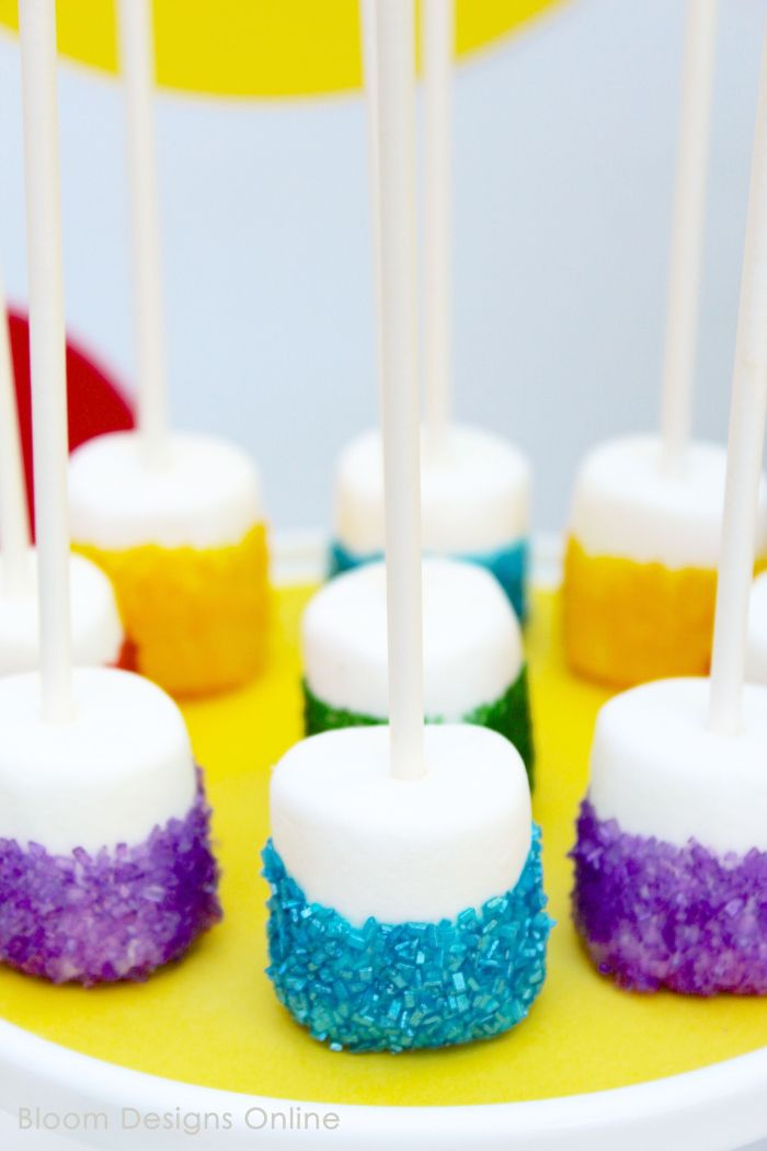 Rainbow Marshmallow Pops- great, simple dessert for Inside Out Movie Night, rainbow party or St. Patricks Day