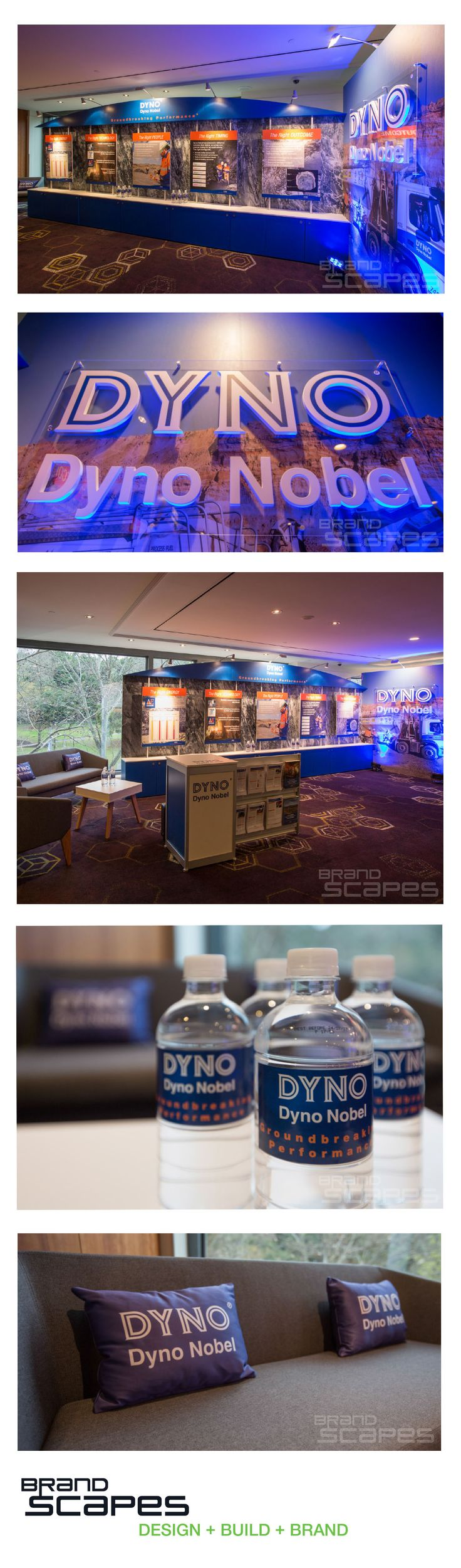 A dynamic branded space was created within the constraints of a hotel conference room.